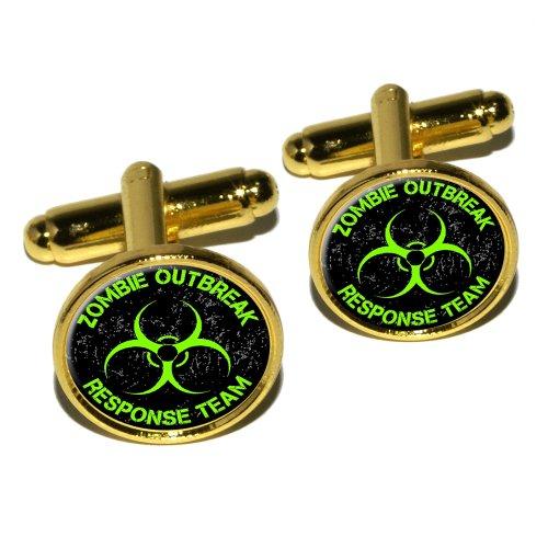 Zombie Outbreak Response Team Vert boutons de manchette rond Effet vieilli–Or