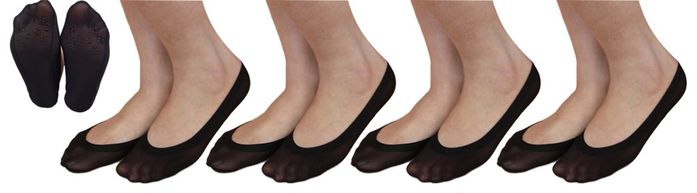 Women's No Show Liner Socks Non Slip Low Cut Invisible Boat Casual Socks 4-Pairs (4pairs Black)