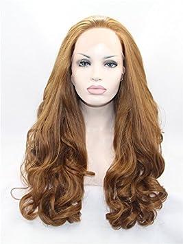 La Puntilla Haned frente largo cabello castaño ondulado pelucas para mujeres encaje frente pelucas larga Categoría ...