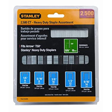Stanley TRA700BN Heavy-Duty Staple & Brad Assortment, 2500-Pack