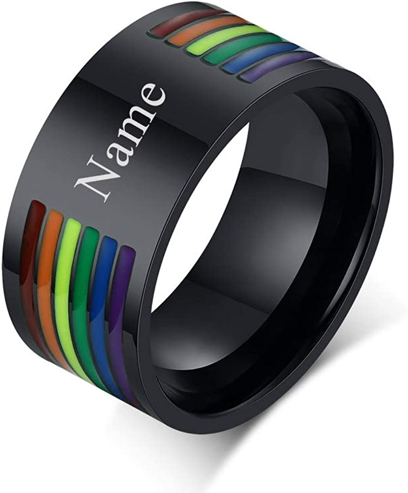 PJ Jewelry 10mm Personalized Custom Stainless Steel Rainbow Pride LGBTQ Couple Ring Wedding Band for Gay Lesbian