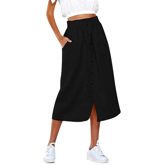 latest fashion 2018 shoes huge sale Womens Midi Skirt Button Down A-Line Plain Mid-Calf Skirts ...