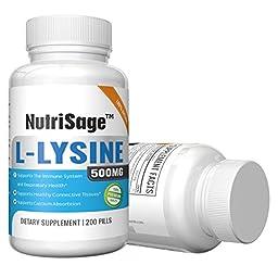 Premium Super L Lysine - 500mg Amino Acid Tablets For Cold Sore Care, Shingles, Immune Support & More - 200 Count Per Bottle
