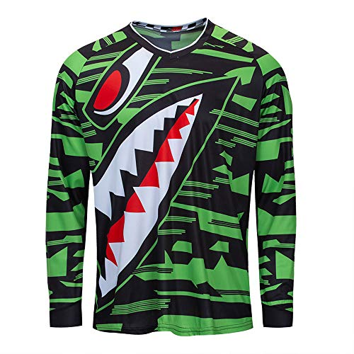(Cycling Jersey Men Long Sleeve MTB Motorcycle T Shirt Bike Bicycle Clothes Breathable Shark Green Size)