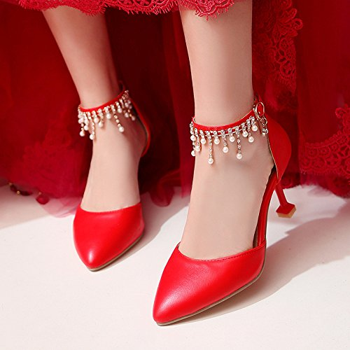 alto grandes red femenino de Zapatos sandalias bridal talón para huecos boda PqU46gxB
