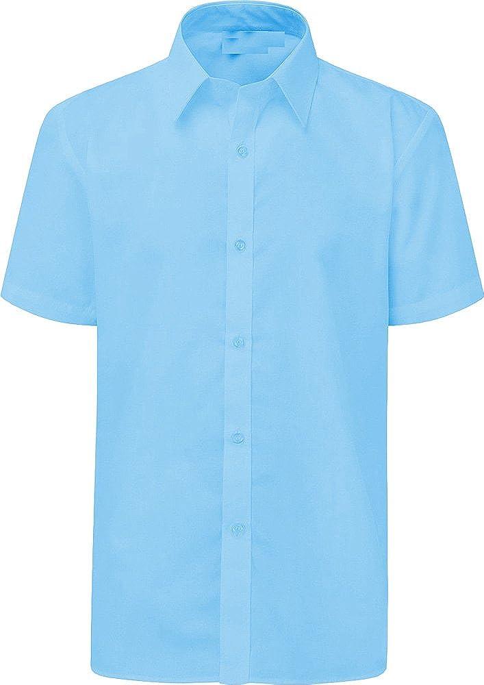 Boys Short Sleeve Shirt School Uniform White Sky Blue **UK