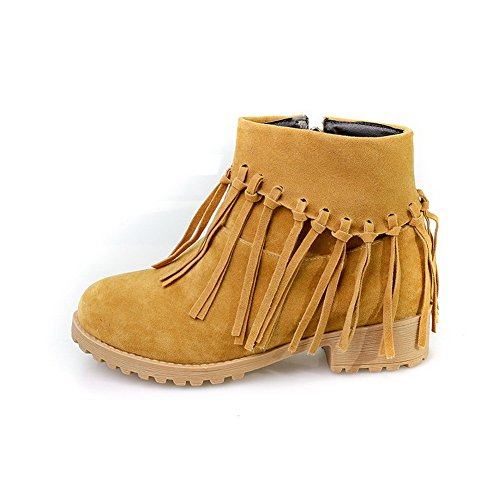 Womens AmoonyFashion Solid Frosted Yellow Toe Low Heels Round Closed Top Boots Low OqnBrqdw