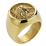 Valily Mens Vintage Rings Stainless Steel Lion Head Ring Round Silver Black Metal Rock Punk Style Biker Men Jewelry (Gold, 10)