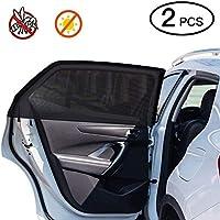 Car Window Shade,2 Pack Super Stretchy Mesh Car Sun Shade for Rear Side Window, Block 97% Harmful UV, Anti-Mosquito,Protect Family/Pets from Sun's Glare & Harmful UV Rays
