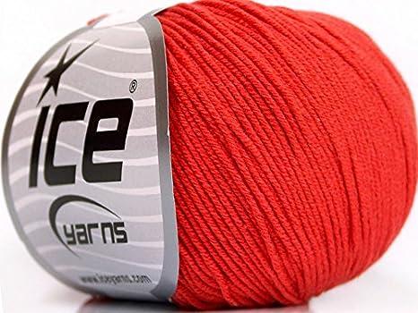 Lot de 4 madejas de hilos Amigurumi algodón (60% algodón) hilo rojo tomate: Amazon.es: Juguetes y juegos