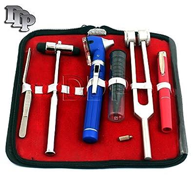 Ddp Led Fiber Optic Otoscope Tuning Fork C128 Reflex Hammer Diagnostic Ent Set-blue