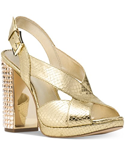 Michael Michael Kors Womens Becky Platform Leather Peep Toe, Lt Gold, Size 8.0