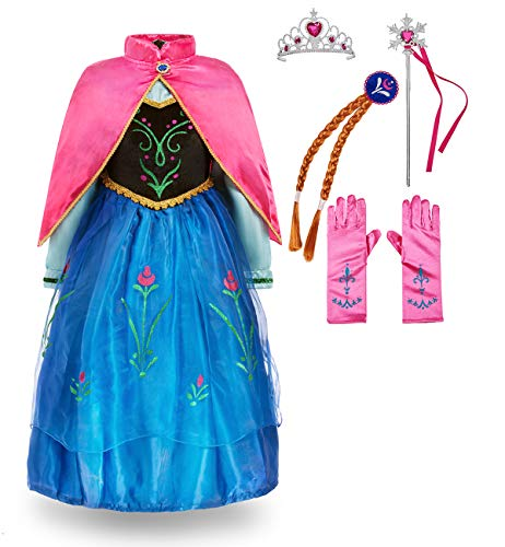 FUNNA Princess Anna Frozen Costume for Toddler Girls Fancy Dress Party, Blue, with Accessories, 5