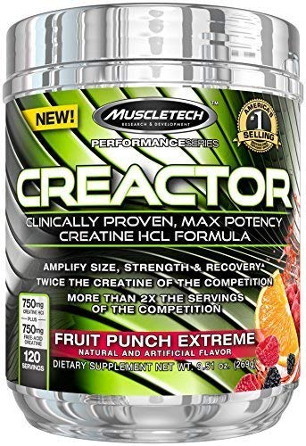 MuscleTech Creactor, Max Potency Creatine HCL Powder, Fruit Punch, 120 servings, 9.51 oz (269g) by MuscleTech