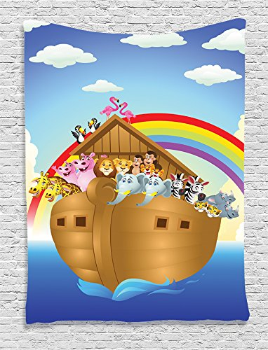Ambesonne Noah's Ark Decor Collection, llustration of Cute Animals in Noah's Ark Sailing in Sea Ship Old Story Sunset Rainbows, Bedroom Living Room Dorm Wall Hanging Tapestry, Blue Red Yellow (Ark Noahs Hanging)