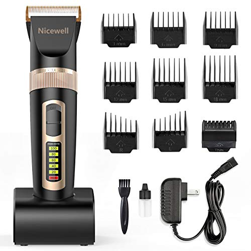 Nicewell Hair Clippers for Men Kids, 2-Speed Cordless Hair Trimmer Grooming Haircut Kit with Charge Station and 9 Attachment Guide Combs (Haircut Clippers Professional)