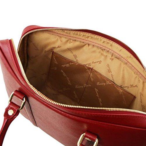81416264 PRATO - Elegante Damen Laptop Aktentasche aus Saffiano Leder, Rot Tuscany Leather