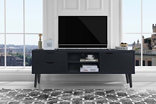 Sofamania Mid-Century Style TV Stand, Living Room Entertainment Center (Dark Grey) Beech Entertainment Center