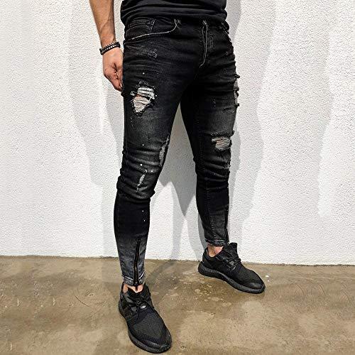 Casual Blue jeans Yesmile light Zip Hip Jeans Biker Uomo Hop Slim Sottile Strappati l Fit Pantaloni Antaloni Denim Da Nero1 Denim qrqHZ1y