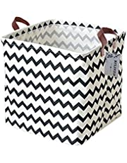Square Storage Bins Canvas Collapsible Storage Basket with Handles Toy Organizer for Nursery, Kid's Toys, Closet & Laundry, Gift Basket(Polyline)