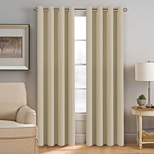 Blackout Curtain Panels for Bedroom 96 Inches Length - Window Treatment Thermal Insulated Solid Grommet Blackout Curtains for Living Room, Energy Saving Patio Door Curtain (One Panel, Beige)