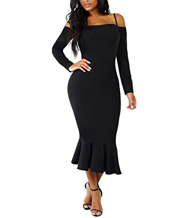 bafa0a81cfd ECHOINE Women s Bodycon Off Shoulder Dress Long Sleeve Elegant Mermaid  Party Midi Dress Black S