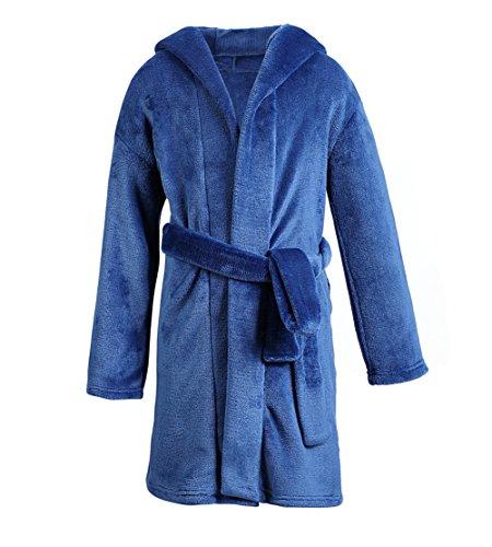 Dolcevida Kids Plush Bath Robe for Boys Girls Solid Hooded Soft Fleece Christmas Bathrobe Nightgown (Navy Blue, 7/8)