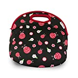 FUNKINS Insulated Lunch Bag for Kids, Girls | Spacious, Durable, Machine Washable | Interior Name Tag & Pocket | Ladybug HUGS