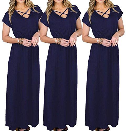 ZIYOU Kleider Damen Einfarbig, Elegant Maxikleider Kurzarm V-Ausschnitt Lange  Kleid Abendkleid  ... ad7b41526d
