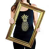 soul cycle apparel - CRAZZIE FIT Athletic Racerback Pineapple Yoga Workout Fitness Activewear Black Tank Top For Women Bonus Item Boho Twisted Cotton Headband by (Large)