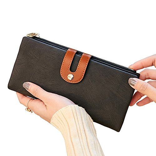 Women's RFID Blocking Leather Wallet Large Capacity Clutch Purse Phone Coin Cash Credit Card Holder Organizer (Black Fashion Wallet Clutch)