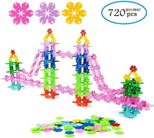 QUN FENG STEM Toys - Building Blocks Educational Toys 720 Pieces construction Interlocking Plastic Disc Set Great STEM Toy for Boys and Girls Kids