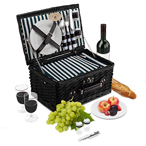 - Wicker Picnic Basket Set | 2 Person Deluxe Vintage Style Woven Willow Picnic Hamper | Built-in Cooler | Ceramic Plates, Stainless Steel Silverware, Wine Glasses, S/P Shakers, Bottle Opener (Black)