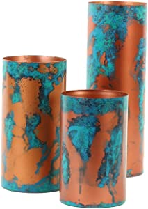 Koyal Wholesale Patina Metal Cylinder Vases, Candle Holders Set of 3, Copper Metal Cylinder Candle Holders, Vintage Decor, Industrial (Patina)