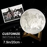 Custom Made 3D Moon Lamp Engraved with Your Picture Or Words as Perfect Gift, LED USB Charging Luna Lamp with Touch Control, White and Yellow Color Changeable and Dimmable (7.9 inch) 20cm
