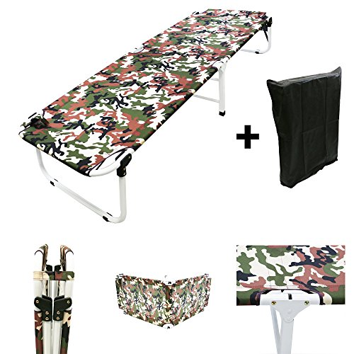 MagshionArmy/Camo Camping Folding Military Cot Outdoor + Free Storage (Camp Bunk Beds Metal)