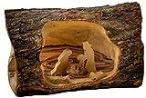 Earthwood Olive Wood Log Nativity, Small