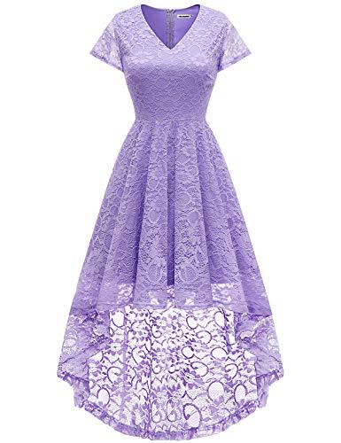 Bbonlinedress Women's Vintage Floral Lace Hi-Lo Cap Sleeve Formal Cocktail Prom Party Dress Lavender (A-line Vintage Bridesmaid Dress)