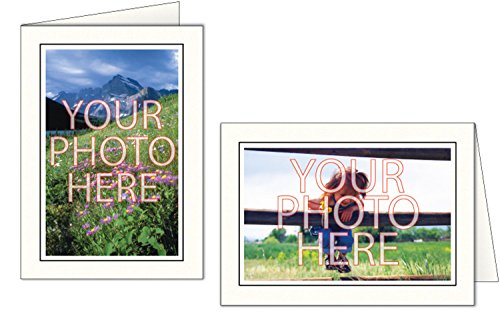 Photographer's Edge, Photo Insert Card, Bright White with Single Border, Set of 10 for 4x6 Photos - Raven Black