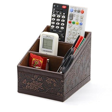 Medifier, Cestino da scrivania, In pelle, Elegante, Per cancelleria, Multifunzione, Porta-penne/matite, cellulari, biglietti da visita, telecomando Retro pattern