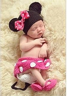 YouPei® bebé recién Nacido Crochet Tejer Sombrero Traje Foto fotografía Prop  Outfits (Rosa roja a7f327e9e99