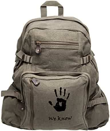 3af6a2520e09 Skyrim We Know Army Heavyweight Canvas Backpack Bag in Olive   Black