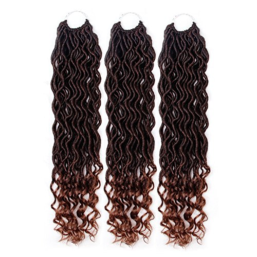 Crochet Hair Wavy Curly Faux Locs Crochet Braids Synthetic Hair Extensions Dreadlocks Crochet Locs Low Temperature Braiding Hair (14