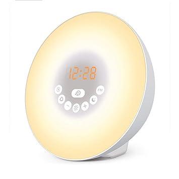 LLHH Amanecer Alarma Reloj-Despertar la luz, con 7 Colores ...