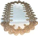 Doily Boutique Table Runner with Gold European Lace and Antique Fabric, Size 70 x 15 inches