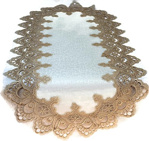 - Doily Boutique Table Runner with Gold European Lace and Antique Fabric, Size 34 x 15 inches