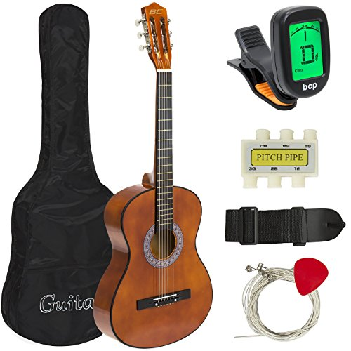 Best Choice Products 38in Beginner Acoustic Guitar Bundle Kit w/Case, Strap, Digital E-Tuner, Pick, Pitch Pipe, Strings – Brown