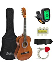 Best Choice Products 38in Beginner Acoustic Guitar Starter Kit w/Case, Strap, Digital E-Tuner, Pick, Pitch Pipe, Strings (Brown)