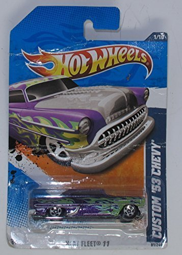 Hot Wheels 2011 '''CUSTOM '53 CHEVY' HEAT FLEET '11 - 1 of 10 - 91/244 Purple with Green Flames and Custom See Thru Hood Exposes Chromed Out Engine