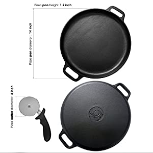 Cast Iron Pizza Pan Grill/Dosa Pan- 14 Inch Pre-seasoned + BONUS Pizza Cutter & Recipe- Best for Making Crispy Pizza Crust